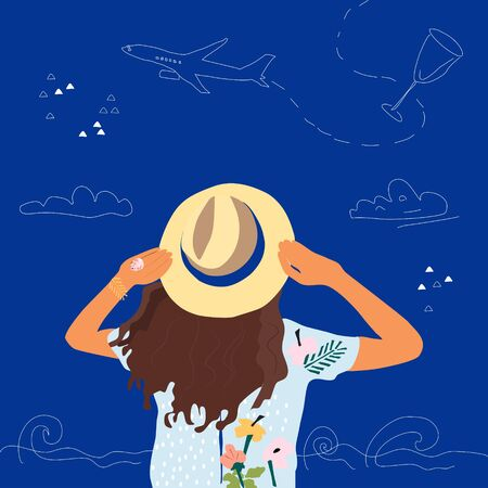 Young girl stands and dreams about vacation and travel. She holds a hat with her hands and her hair flutter. Hand drawn airplane flies.Summer vector illustration. Advertisement for travel agency.  イラスト・ベクター素材