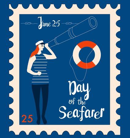 Day of the seafarer 25 June retro postmark or stamp.Sailor looks into the suspension pipe.Sailing yacht, lifebuoy and nautical knots, maritime vector illustration.Lettering for postcard, letter, mail.