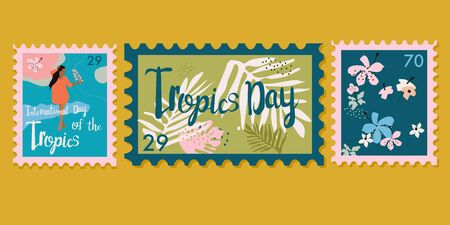 Set of three trendy floral stamps. International day of the Tropics vector  postmarks.Tropical leaves, lotus flowers, girl in dress with lily and lettering.Mail and post office conceptual drawing