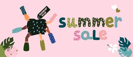 Summer sale lettering concept.Hands in different gestures pull pullover or sweatshirt in different directions.Different patterns for sleeves of clothes and letters.Dots,waves.Horizontal vector banner. Special offer. Vectores