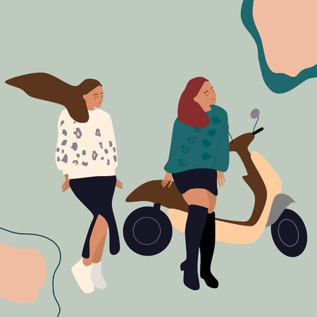Two girls in a skirts with motorcycle or scooter.Freedom,journey,road trip concept.Woman power and real friendship.Travel agency poster.Hand drawn vector illustration on abstract background.Adventures
