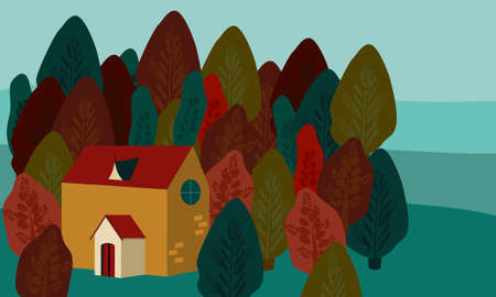 Cute Autumn flat vector illustration.Autumn leaf fall, crimson forest. Cozy residence,forest house.Template for greeting card,flyer.trendy hand drawn card.Happy family on holidays,travelling,camping.