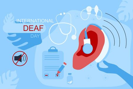 International Deaf day 23 september website template.Ear with hearing aid,aerophone. Hearing disability concept,ear protection.Without sound sign.Medical icons,patient card flat illustration. Vectores