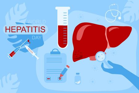 World hepatitis day 28th July hand drawn illustration.Concept of hepatitis A,B,C,D, cirrhosis.Liver care,vaccination.Stop hepatitis template for web design or poster.Medical icons,patient card