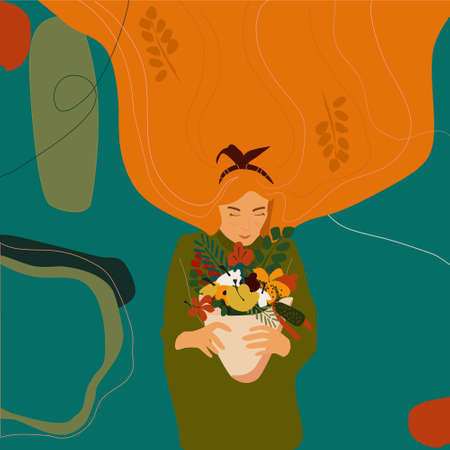 Girl with orange hair holds an autumn bouquet in hands.Crimson leaves, golden dahlias.Cute Autumn trendy hand drawn vector illustration.Woman in a warm knitted sweater.Goodbye summer. Web template