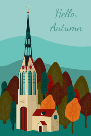 Cute Autumn flat vector illustration with gothic church and clock tower.Leaf fall is coming,crimson forest.Hello Autumn.Trendy hand drawn template for greeting card,flyer,sale.Travelling in Europe 向量圖像