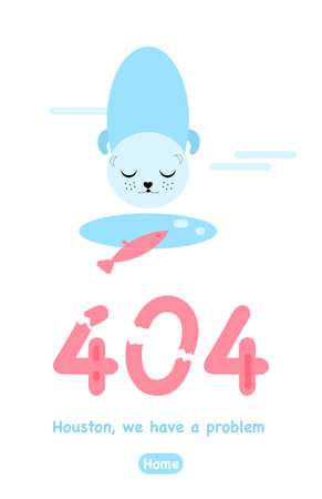 404 error page not found. Vertical banner or website with system fatal Error.Support service. Ice hole, cute seal and hooked fish. Technical problem. Ð¡racked numbers. Vector illustration in flat style