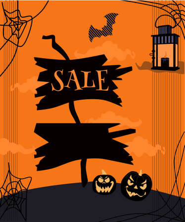 Halloween sale flyer with wooden tablets or pointer with signs.Clumsy tree and bats on scary background.Jack-o-lanterns with weird facial expressions.Vector shopping invitation or gift card. 50% off