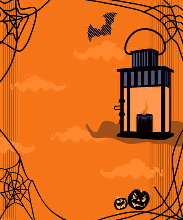 Halloween trendy vector template for discount flyer, greeting card or party invitation. Lantern or lamp with light candle inside. Clounds, Jack-o-lanterns and spiderweb on creepy orange background. Ilustração