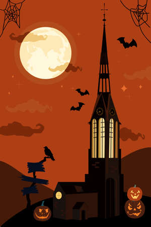 Halloween vector illustration with gothic catholic church and clock tower.Bats in the twilight sky,full moon and terrible pumpkins. Luminous Jack-o-lanterns.Night party invitation,greeting card,poster