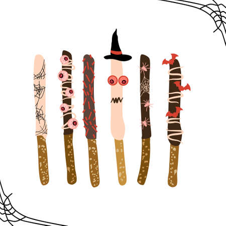 Chocolate covered Halloween pretzels. Sweet and salty sticks topped with sprinkles, candy eyes, glaze cobwebs. Dipped baked rods.Halloween night party invitation, greeting card. Trick or treat candies
