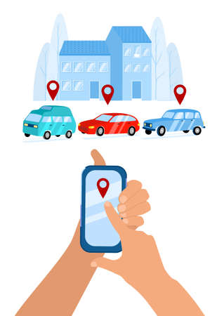 Hands holding smartphone, location mark of car. Online ordering taxi, rent and car sharing service using mobile app. Vector flat illustration of wireless parking. Ð¡ity silhouette, low-rise buildings Ilustração