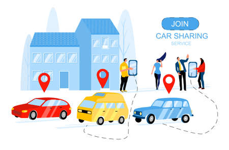 Concept of online ordering taxi,rent and car sharing service using mobile app. People waiting for transport. Vector flat illustration of wireless parking. Urban city silhouette. Location marks of car. Ilustração