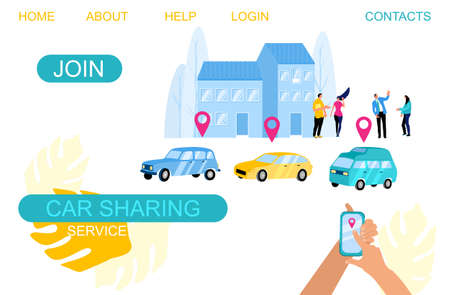 Car sharing and rent service,online ordering taxi concept for website.Hands holding smartphone, location mark of car.Vector flat banner of wireless parking. People searching transport using mobile app