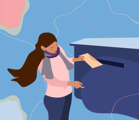 Young girl puts envelope in the mailbox. Vector illustration in pastel colors on abstract background. Communication without Modern Technology. Delivery of letters, telegram and messages. Using post.