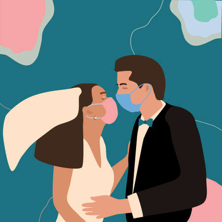 Quarantine coronavirus wedding.Man and woman in love, get married. Couple wearing face masks,holding each other.  イラスト・ベクター素材