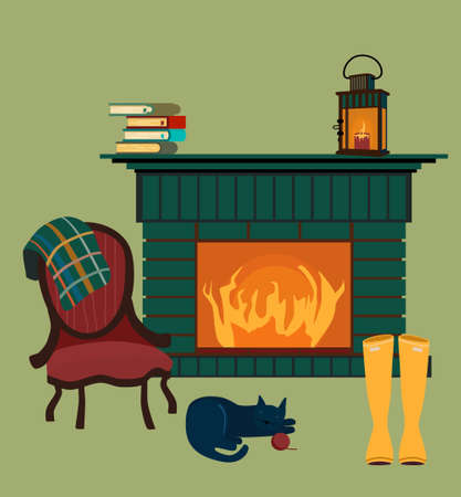 Living room interior with fireplace,vintage empire armchair with checkered plaid.Autumn cozy atmosphere.Rubber boots dry by the fire,lamp burns.Family reunion.Cat sleeps.Vector illustration flat style