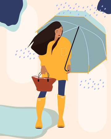 Girl in a yellow raincoat or slicker,rubber boots.She standing in the rain, holds an umbrella. Autumn weather,puddle underfoot.Stylish handbag.Vector for decorating a boutique with clothes,advertising Illustration