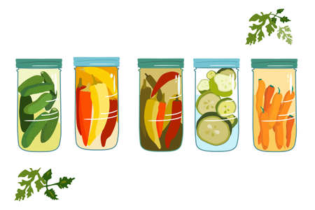 Marinade jars.Autumn harvesting. Pickles,chili peppers,carrots with spices and zucchini slices in a glass bowl with a lid.Vector isolated on a white background, parsley around.For cafe menu,website