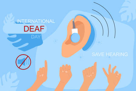 International Deaf day 23 september hand drawn vector illustration.Ear hearing aid,aerophone.Sign language communication.Hearing disability concept,ear protection.Equal rights.Language of the deaf