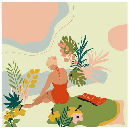 Young woman sitting on the beach in swimsuit around tropical jungle leaves.She reads book.Hand drawn vector trendy illustration with abstract background. Pastel colors in minimalistic design concept