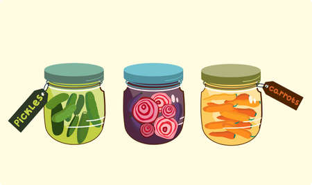 Marinade jars.Autumn harvesting. Pickles,carrots with spices and radish slices in a glass bowl with a colored lid.Canned food, labels. Vector flat doodle illustration for cafe menu,website