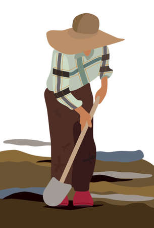 A farmer in a wide-brimmed hat and dirty clothes digs the ground with a shovel. Plow the field. Casual checkered shirt. Craft, village profession. Rustic landscape.Vector flat illustration for food Vektorové ilustrace