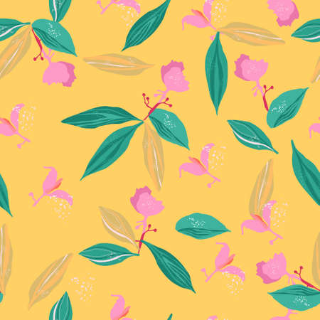 Medinilla showy pink tropical florets with big leaves seamless pattern. Large panicles. Juicy summer print.Wildflower that blooms.Hand drawn trendy vector illustration for linens,phone case 矢量图像