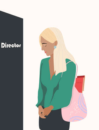 Excitement in front of the boss office. Young scared woman before job interview. Very smart girl with a lot of diplomas is nervous. Oppression of women,career difficulties, feminism. Trendy vector
