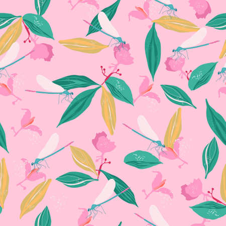 Dragonflies and medinilla showy flowers seamless pattern.Pink tropical bushes,big leaves with streaks.Large panicles and transparent wings.Juicy summer print.Trendy vector print for textile,web design Vektorgrafik