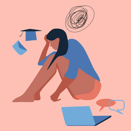 Young woman sits on the floor, clutching her head. Professional burnout, dismissal, failure of exams. Confused thoughts, girl fired. Person is tired, needs help and support. Desperation vector concept