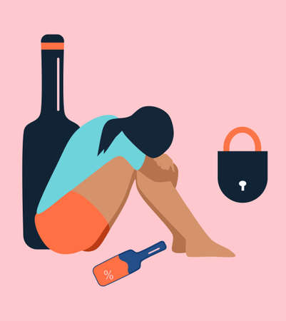 Lonely alcoholic woman sits on the floor.Addiction,problems with drinking.Lock,giant bottle.Ð¡onflict with yourself.Middle age crisis.Person is tired,needs help and support. Desperation vector concept
