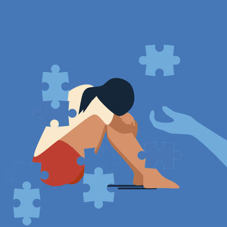 Psychotherapy support concept. Young woman sits on the floor, she falls apart into separate puzzles. Person is tired, needs help,cure from stress. Desperation,anxiety and loneliness vector concept