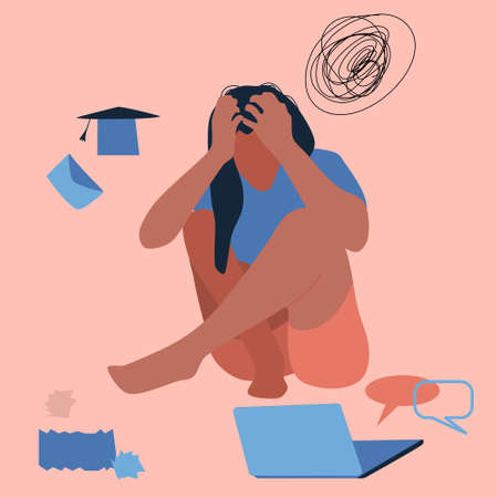 Creative fatigue. Young woman sits on the floor, clutching her head.Professional burnout, dismissal,failure of exams. Confused thoughts,girl fired.Person is tired,needs help.Desperation vector concept