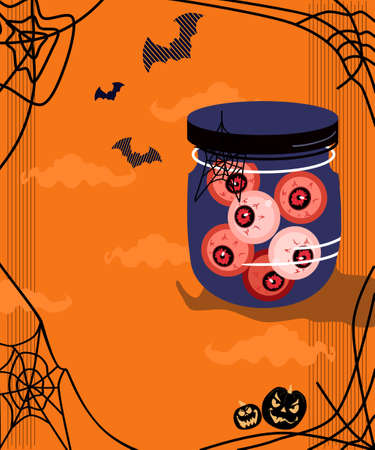 Halloween scary jar with jelly bloody eyes.Holiday home decor.Day of the dead concept with bats and spider webs.Trick or treat tradition.Spooky nignt party invitation or postcard.Vector in flat style Ilustração