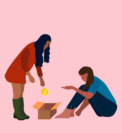 Homeless poor woman sitting on the street.Beggar in dirty torn clothes with a cardboard box for alms. Girl helping mumper with money. Desperation, depression concept. Social problems flat style vector 矢量图像