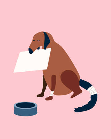 Poor homeless dog with a wounded tail and paw is begging on the street with a cardboard box in its mouth.Animal shelter, donations, fundraising for food and treatment concept.Social flat vector poster 免版税图像 - 154039359
