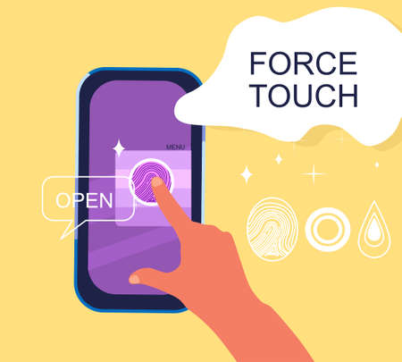 Force Touch technology concept. Human hand uses pressure sensors on digital smartphone display. Various signs, fingerprint. Tap gesture flat vector icon for apps and websites.Waveforms and vibration