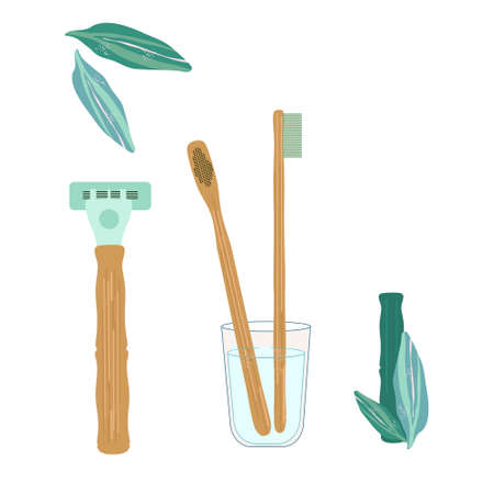 Bamboo tootbrushes and razor. Dental and orthodontic daily life vector concept for clinic. Oral and skin care. Healthy smile.Zero waste. Biodegradable material. Eco-friendly products. Flat style 免版税图像 - 152658197