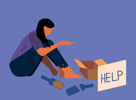 """Homeless poor woman sitting on the street.Beggar in dirty torn clothes with cardboard box for alms and a piece of paper with text """"help"""".Alcohol addiction,unwillingness to work.Social problems vector"""