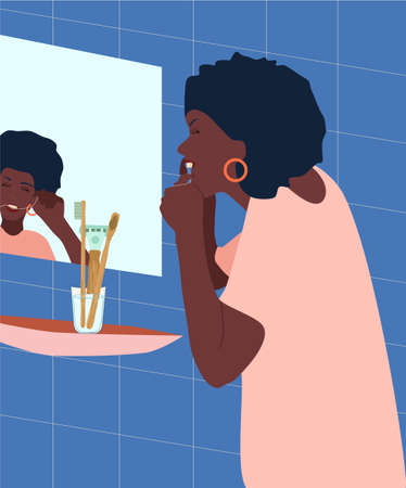 Young afroamerican woman brushes her teeth with dental floss in the bathroom.Dental and orthodontic daily life concept.Oral care.Healthy smile.Black girl getting ready for the bed.Vector for clinic