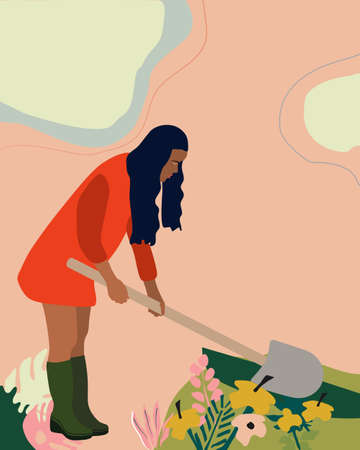 Young woman in red overcoat gardening.She digs the ground with a shovel and plants flowers. Harvesting concept in trendy pastel colors. Vector illustration with abstract background.Seasonal daily life