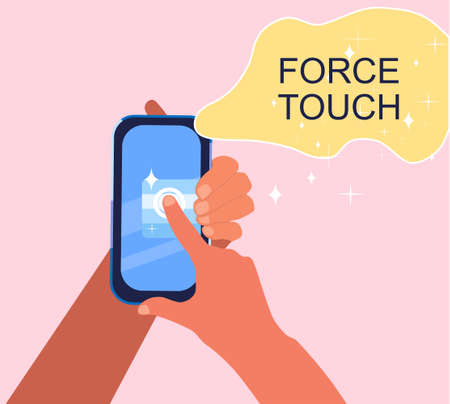 Force Touch technology concept. Human hands using pressure sensors on digital smartphone display. Tap gesture flat vector icon for apps and websites.Waveforms and vibration.Glare and stars around 矢量图像