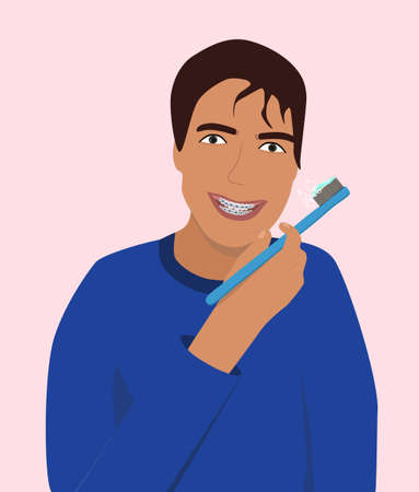 Young man smiling with dental braces. He brushing his teeth. Orthodontic metal retainers for bite correction. Daily life hygiene and care. Beautiful healthy Oral cavity. Vector flat style for clinic
