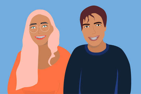Couple smiling with dental braces on their teeth. Young man and woman with orthodontic metal retainers for bite correction. Oral daily life hygiene and care. Vector flat illustration for clinic 免版税图像 - 154039369