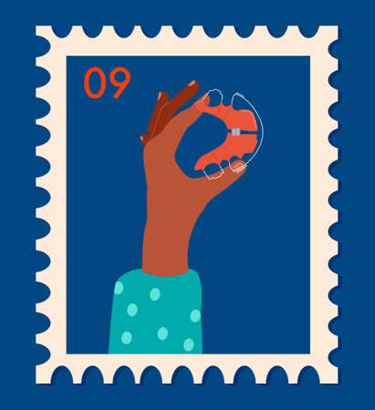 Female hands holding braces or orthodontic retainers. Vintage retro postage stamp. Oral care and daily routine.Bite correction. International day of the dentist.Vector in flat style for clinic or card