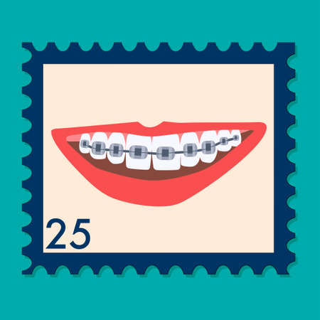 Orthodontic themed postage stamp.Human mouth with braces on teeth. Bite correction.Oral care and daily routine. International day of the dentist. Retro philately vector in flat style for greeting card 矢量图像
