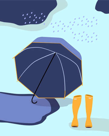Umbrella lying in a puddle and yellow rubber boots standing on the ground. Autumn fashion concept for shop or store. Rainy windy weather and dark clouds. Vector illustration of seasonal sale.