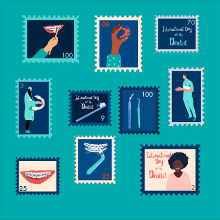 Set of orthodontic themed stamps.International day of the dentist.Oral care and daily routine.Doctors with teeth retainers and braces.Interdental brushes with toothpaste.Postal accessories for letters 免版税图像 - 152879884