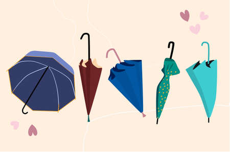 Set of five open and closed trendy umbrellas in different position. Autumn fashion sale and rainy protection.Multi colored accessories.Vector illustration in scandinavian style for shop or boutique